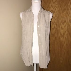 Guess Button Up Sleeveless Shirt